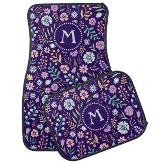 Monogram Floral Whimsical Boho Pattern Car Mats