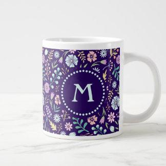 Monogram Floral Whimsical Boho Pattern Jumbo Mug