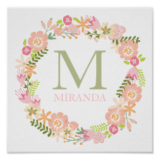 Monogram Floral Wreath Poster