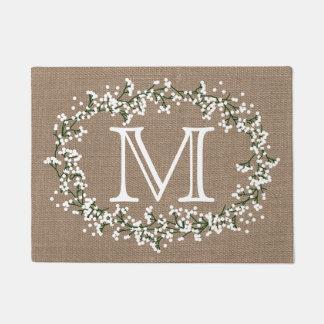 Monogram Floral Wreath & Rustic Burlap Effect Doormat