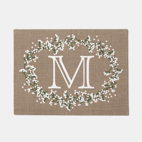 Monogram Floral Wreath  Rustic Burlap Effect Doormat