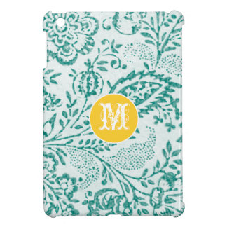 Monogram Floral Yellow Aqua Damask iPad Mini Case
