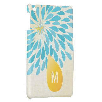 Monogram Floral Yellow Aqua iPad Mini Case