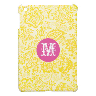 Monogram Floral Yellow Damask iPad Mini Case