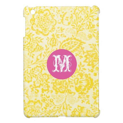 Monogram Floral Yellow Damask iPad Mini Case