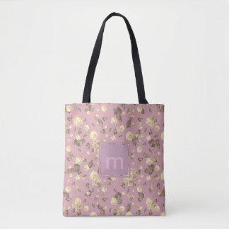 Monogram Flourish Pattern Pink Tea Tote Bag