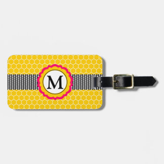 Monogram Flower and Honeycomb Pattern Personalized Luggage Tag