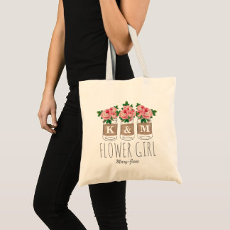 MONOGRAM FLOWER GIRL | MASON JAR WEDDING TOTE BAG