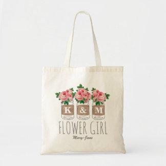 MONOGRAM FLOWER GIRL | MASON JAR WEDDING TOTE BAG