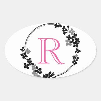 Monogram Flowers Frame Oval Sticker