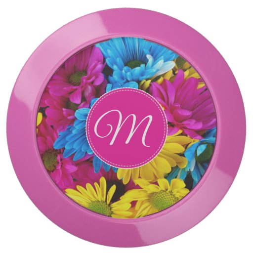 Monogram Flowers in Fluorescent Colors USB Chargin USB Charging Station