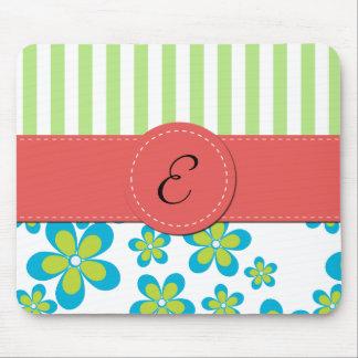 Monogram - Flowers, Petals, Stripes - Green Blue Mouse Pad