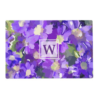 Monogram Flowers Purple Daisies Floral Botanical Placemat