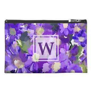 Monogram Flowers Purple Daisies Floral Botanical Travel Accessories Bags