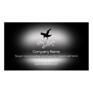Monogram, Flying Raven Bird, metallic-effect Business Card Template
