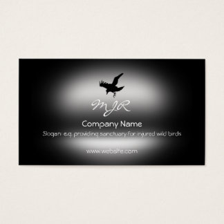 Monogram, Flying Raven Bird, metallic-effect Business Card
