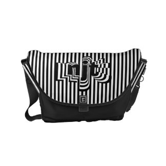 Monogram Font art - Black and White Striped Small Messenger Bag