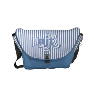 Monogram Font art - Blue and White Striped Small Messenger Bag