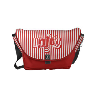 Monogram Font art - Red and White Striped Small Messenger Bag