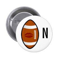 monogram football kiss button