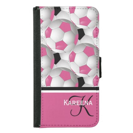 Monogram Football Soccer Ball Pink and White