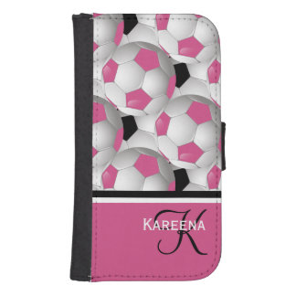 Monogram Football Soccer Ball Pink and White Galaxy S4 Wallet Case