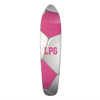 Monogram Football Soccer Ball Pink and White Skateboard