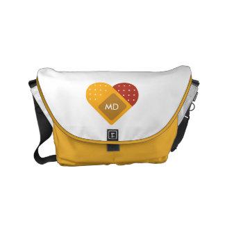 Monogram. For Doctors and Nurses. Bandaged Heart. Small Messenger Bag