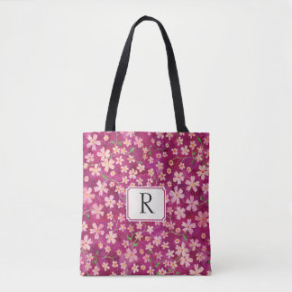 Monogram For Her Cheery Floral Pink and Rose Tote Bag