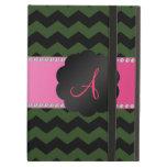 Monogram forest green black chevrons iPad cases