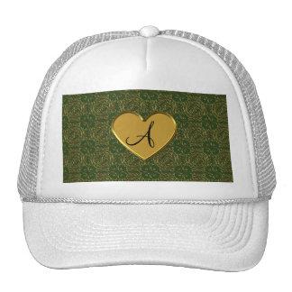 Monogram forest green gold moroccan damask mesh hat