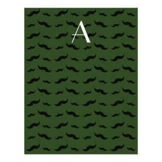 """Monogram forest green mustache pattern 8.5"""" x 11"""" flyer"""