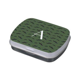 Monogram forest green mustache pattern candy tin
