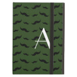 Monogram forest green mustache pattern iPad cases