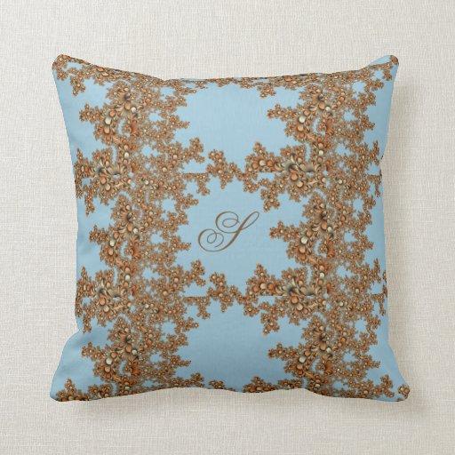 Modern Initial Pillow : Monogram Fractal Design Modern Blue Throw Pillow Zazzle