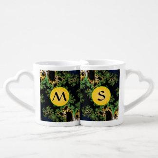 Monogram Fractal Forest - green, yellow and black Coffee Mug Set