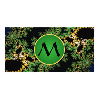 Monogram Fractal Forest - green, yellow and black Photo Card