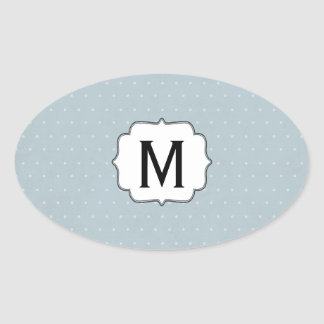 Monogram Framed on Pale Blue with White Polka Dots Oval Sticker