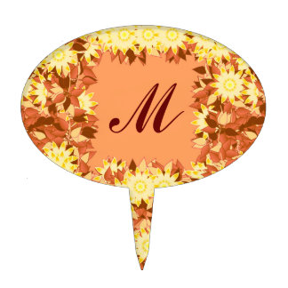 Monogram framed with flowers - cocoa & yellow cake toppers