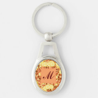 Monogram framed with flowers - cocoa & yellow keychain