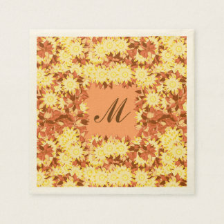 Monogram framed with flowers - cocoa & yellow napkin