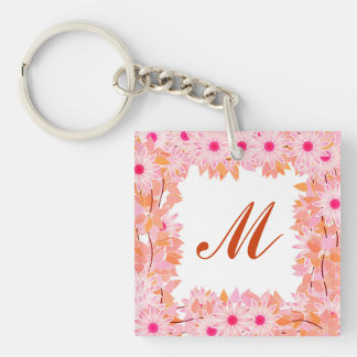 Monogram framed with flowers - pink and peach keychain