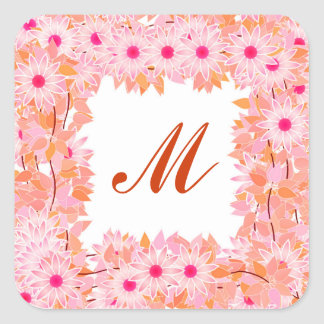Monogram framed with flowers - pink and peach square sticker