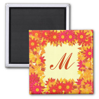 Monogram framed with flowers - red and gold magnets