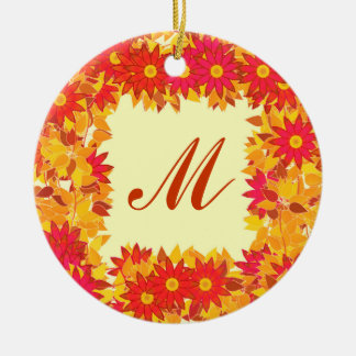 Monogram framed with flowers - red and gold Double-Sided ceramic round christmas ornament