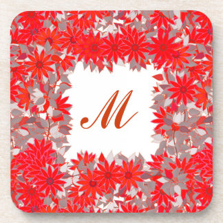 Monogram framed with flowers - red and grey drink coaster