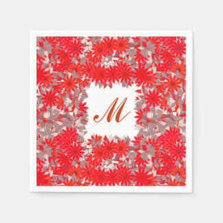 Monogram framed with flowers - red and grey paper napkin