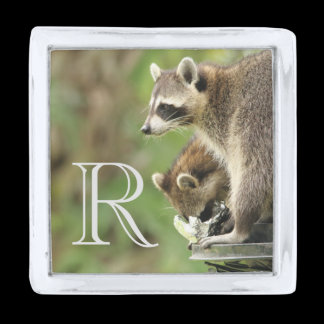 Monogram Friends & Blessings Emerson Quote Raccoon Silver Finish Lapel Pin