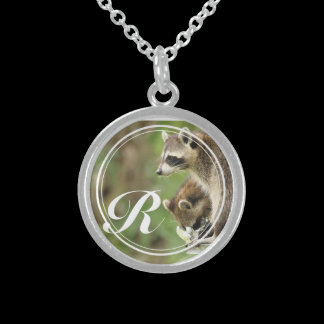 Monogram Friends & Blessings Raccoons Personalized Sterling Silver Necklace