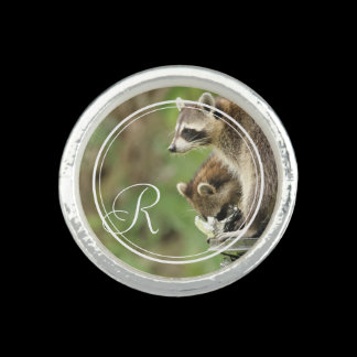 Monogram Friends & Blessings Raccoons Pesonalized Rings
